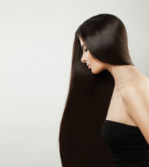 Beautiful Woman with Long Silky Hairstyle, Female Profile