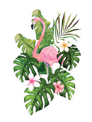 Exotic summer print with flamingo and tropical leaves. Isolated vector illustration on white background