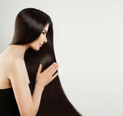 Long Hair Woman Portrait. Healthy Brown Hair Model