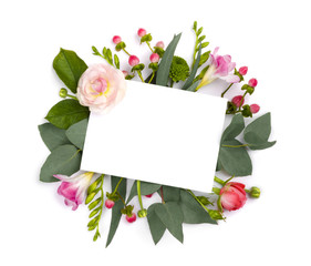 Mock up with flowers isolated on white. Copy space area
