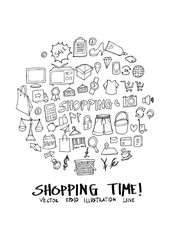 Shopping doodle illustration circle form on a4 paper wallpaper line sketch style eps10