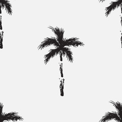 Black vector palm trees isolated on white background. Hand drawn seamless pattern