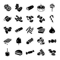 Confectionery glyph vector icons
