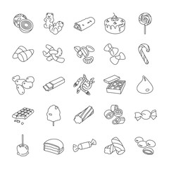 Confectionery outlines vector icons