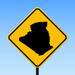 Algeria map on road sign. Square poster with Algeria country map on yellow rhomb road sign. Vector illustration.
