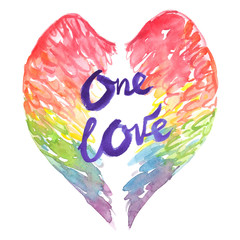 "Rainbow colored wings and words ""one love"" painted in watercolor on clean white background"
