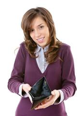 Woman showing an empty wallet