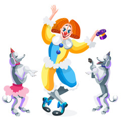 Clown and circus dogs. Poodles with caps on their heads look at the clown who holds the hat in his hand. Vector illustration on white background