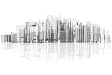skyline città su sfondo bianco con riflesso.
