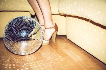 Disco ball lying on floor