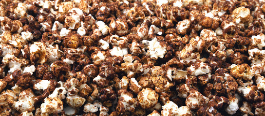 Panorama of chocolate popcorn.