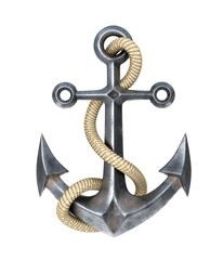 Anchor with a rope on a white background. 3D illustration