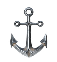 Anchor on a white background. 3D illustration
