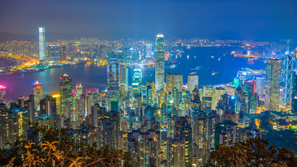 Zelfklevend Fotobehang Hong-Kong Hong Kong cityscape at night view from The Peak
