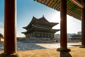 Morning sunrise with view of Gyeongbokgung Palace in Seoul city, South Korea