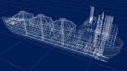 Oil tanker ship wire model isolated on white. My own design. 3D illustration.
