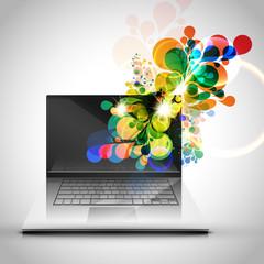 Colorful laptop design vector illustration.