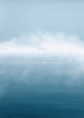 Digital painting. Morning lake with fog and fisher in the boat. Fishing calm background.