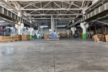 Shop woodworking plant. Warehouse of lumber at the woodworking plant
