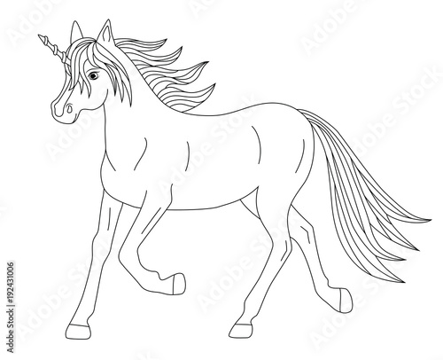 Beautiful Magical Running Unicorn Coloring Page