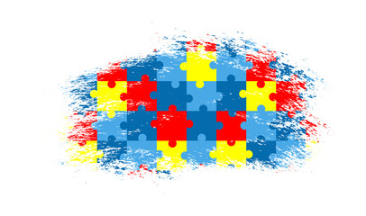 Vector grunge puzzle background. Colorful autism awareness puzzle  illustration