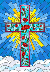 Illustration in stained glass style with Christian cross decorated with  pink roses on the background of sky with clouds