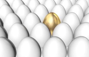 Golden egg among white eggs. 3D Rendering