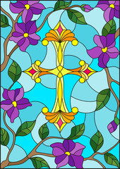 Stained glass illustration with a  yellow Christian cross in the sky and purple flowers