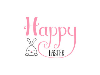 Hand written Happy Easter lettering with cute cartoon rabbit. Isolated objects on white. Vector illustration. Festive design elements. Concept for greeting card, invitation.