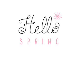 Hand written Hello Spring lettering with cartoon sun. Isolated objects on white. Vector illustration. Design concept for change of seasons.
