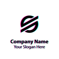 Abstract logo design with glitch effect on white background, Abstract graphic icon, logo design template, symbol for company