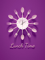 purple cutlery clock for lunch time