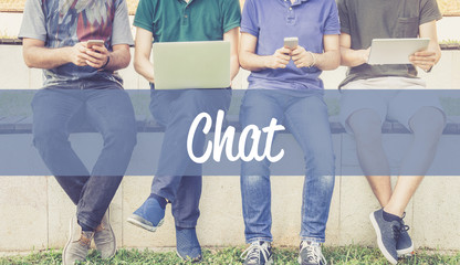 Group of people using mobile devices and CHAT concept