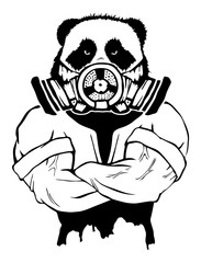 Isolated vector illustration a strong wild panda- man in a gas mask.