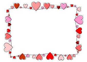 Recheckiger Rahmen aus roten Herzen