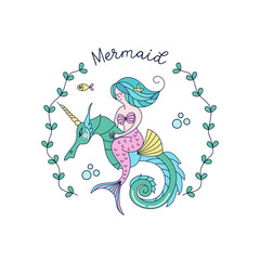 Mermaid, mythological creature. Mermaid riding a sea unicorn.  Vector illustration. Isolated on a white background.