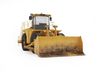 Big yellow bulldozer. 3D rendering
