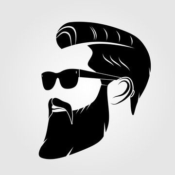 Bearded men, hipster face. Fashion silhouette, emblem, icon, label. Vector illustration.