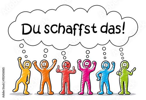"""""""Freundlich lachende Comic-Männchen mit Sprechblase """"Du ..."""