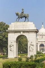 sculpture of Edward VII against Victoria Memorial, Kolkata, West Bengal, India