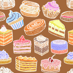 Colored Seamless Pattern with Cupcakes Cakes and Pastries. Background with Sweets in Hand Drawn Doodle Style. Vector Illustration
