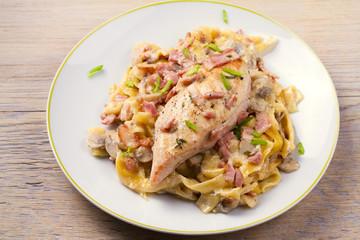 Chicken and creamy bacon and mushroom pasta