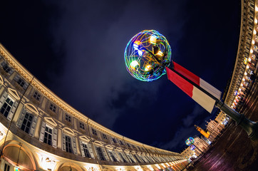 Piazza San Carlo, one of the main squares of Turin (Piedmont, Italy) at night