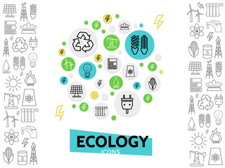 Ecology Line Icons Concept
