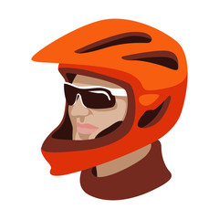 bicyclist in helm vector illustration flat style profile