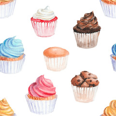 Watercolor  cupcakes seamless pattern