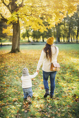 Rear view of mother and son in autumn leaves in Sweden