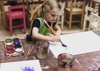 Girl painting in Sweden