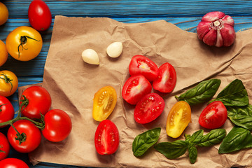 tomato basil spices cooking wooden rustic background