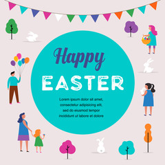 Happy Easter scene with families, kids. Easter street event, festival and fair design